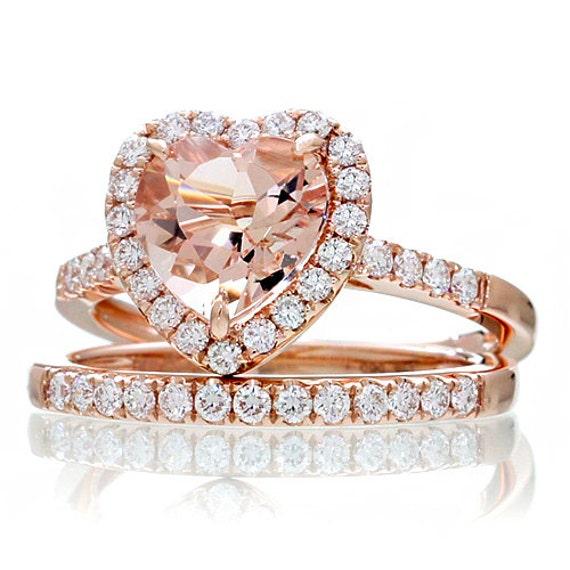 14K Rose Gold Morganite Ring Heart Shape Cut Dainty Morganite