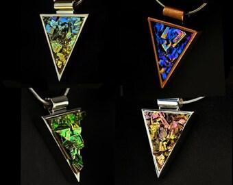 Bismuth Crystal Triangle Pendant - Custom Order - Triangle Jewelry - Triangle Necklace - Crystal Triangle - Fractal - Iridescent - Unique
