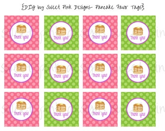 Pancakes and Pajama's Party- Favor Tags