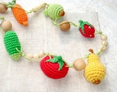 Teething necklace Autumn Babywrap necklace  Yellow red green Harvest Garden Fruits Vegetables Babywearing