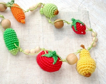 Bright teething jewelry,Fruit teething toy,Babywrap necklace,Yellow red green,Harvest Garden,Miniature Vegetables,Toddler necklace,  Autumn
