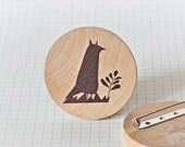 Illustrated wooden brooch - Fox