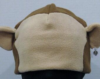 Monkey Fleece Ear Hat - BROWN & TAN