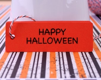 """15 Halloween Tags, Gift Tags, Happy Halloween Tags, Labels, Party Tags, Orange Tags - 1"""" x 3"""""""