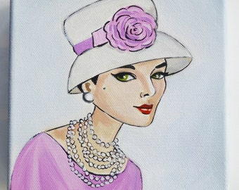 Marian, vintage 1950's woman in hat with flower and pearls.