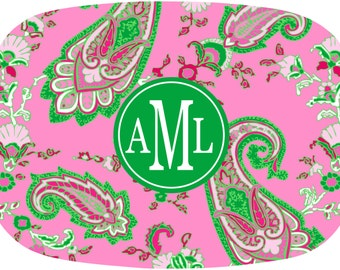 Monogrammed Melamine Platter Personalized Dinnerware Serving Tray Paisley Vanity Tray PINK and GREEN SCENE