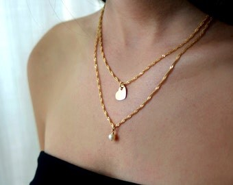 Double layered chain necklace / multi pearl chain necklace / 14k double gold necklace / layering jewelry