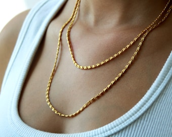 Long Gold chain necklace / double strand necklace / gold chain necklace / birthday gift idea