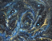 Blue Stars and Stardust - Original Acrylic Space Painting - CNCacrylics