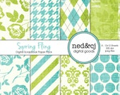 Digital Scrapbook Paper Pack - Spring Fling - Distressed Digital Paper - Turquoise & Lime Floral