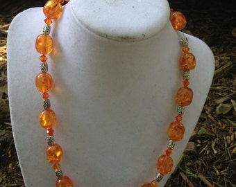 Orange Resin Bead Necklace