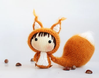 Squirrel Doll with removable tail - pdf knitting pattern