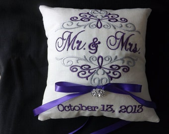 Ring Bearer Pillow Mr. & Mrs. personalized custom ring pillow wedding pillow embroidery monogram