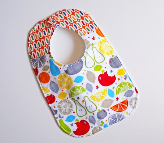 Gender Neutral Baby to Toddler Bib - Fruits - One of a Kind - Ready to Ship