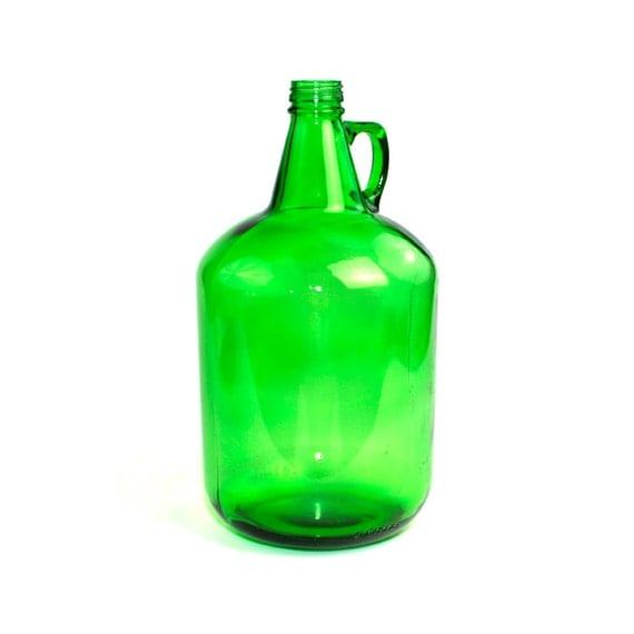 Green Glass Jug Giant 4 Liter Capacity Water Wine Or