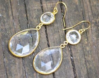 Clear quartz earrings - April Birthstone earrings - bezel set earrings, bridesmaid earrings, Double Drop Earrings, long earrings, dual stone