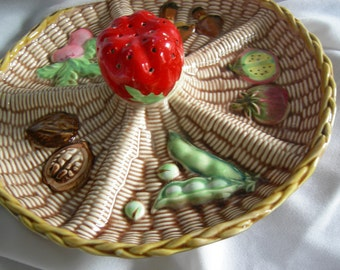 Retro Faux Wicker Ceramic Horderves Hors d oeuvres Canape Platter Tray - Unsigned - Vintage 1960- 1970