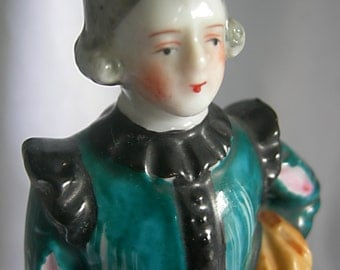 Hand Painted Glazed Porcelain Period Costume Male Figurine - Made in Occupied Japan - Vintage 1945 - 1952
