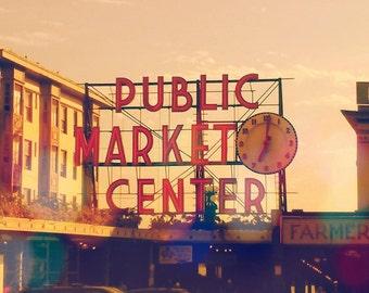 Seattle Pike's Place Market Photo. Farmer's Market. Photograph Print. Vintage. Home Decor. Orange Art Photography. Street Art Wall Art Decor