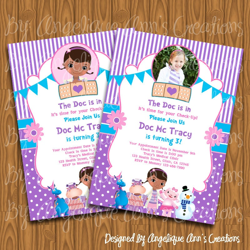 Doc McStuffins Invitations DIY Printable by jayarmada on Etsy