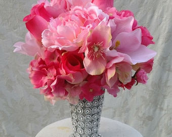 Silk Floral Gift for Her, Tabletop Decor, Home Decor in Bling Julep Vase