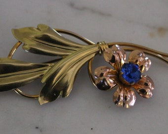 SALE -Vintage Van Dell brooch cornflower blue rhinestone 1/20 12kt. gold filled  #15 rose  yellow green gold excellent condition 1940s-1950s
