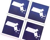 Massachusetts Map Art Print Ceramic Tile Drink Coasters – I Love Boston, MA - Set of 4
