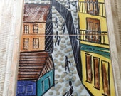 Vivid Mid Century Hand Painted Tiles with Street Scene by Harris Strong