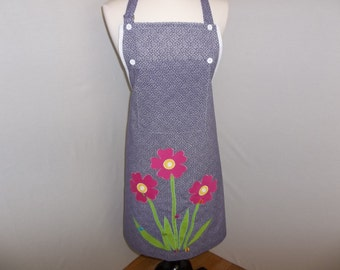 Flowers and Butterflies Appliqued Apron