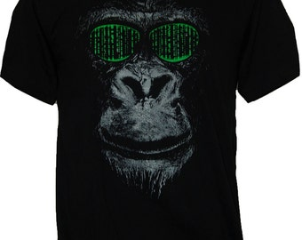 cool MONKEY ape matrix shades hacker T-Shirt faces graphic design (S-XL) Free Shipping