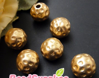 BE-RB-04002- Matted gold plated, textured beads, 8 pcs