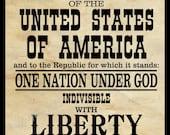 Pledge of Allegiance, digital print, black and white art, wall decor, Americana, poster