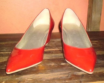 SALE WoMeNs  NiNe WesT SHiNy LiPsTicK ReD PoinTy Toe WeDge SHoeS 6.5M