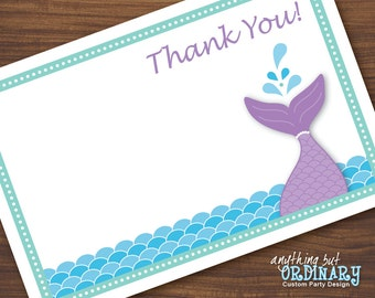 Mermaid Thank You Note, DIY Flat Card, ThankYou Card, INSTANT DOWNLOAD, digital printable file