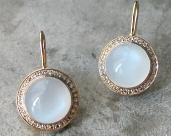 White Moonstone Bridal Earring- Statement Halo Moonstone Earrings- June Birthstone Earring- Wedding Engagement Earring- White Stone Earring