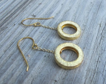 Gold Circle Earrings- Gold Vermeil Earrings- Gold Dangle Earrings- Spiral Earrings- Hoop Earrings