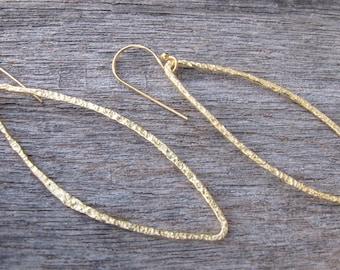 Hoop Earrings- Loop Earrings- Sterling Silver Earrings- Gold Dangle Earrings-Statement Earrings-Textured Earrings- Silver Earrings- Earrings