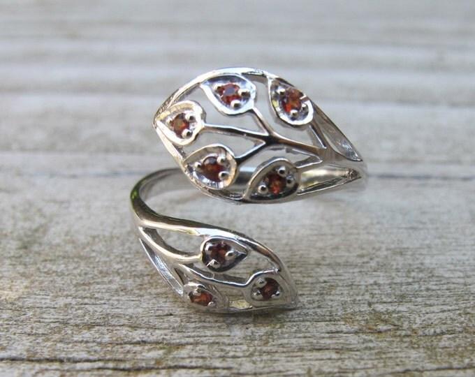Garnet Multistone Leaf Ring- January Promise Birthstone Ring- Gemstone Statement Ring- Customize Birthstone Ring- Engagement Gift for Couple
