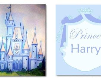 Boy Nursery Prince Decor, Nursery Castle Blue,  Custom Name , Prince Art Prints, Nursery Wall Art, Kids Decor, Kids Wall Art, Nursery Decor