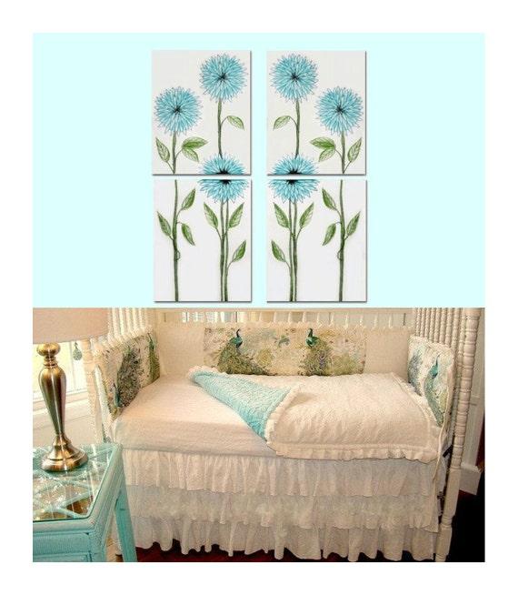 Elegant Girls Bedroom Ideas: Elegant Nursery Floral Wall Art SET OF 4 Art By Handpainting