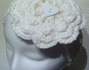 Crochet Flower Headband With Removable Flower, Holiday Editon White