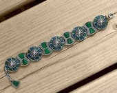 Miracle Bracelet Glass Agate with blue & green Art Glass - MargsMostlyVintage
