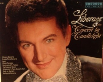 Glittered Liberace Plays Concert By Candlelight Vinyl Record Album