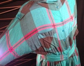 80s // Glen Plaid // Slouch Neck Dress