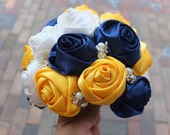 Ribbon Rose Bouquet, Satin Rose Bouquet,  Navy & Yellow Flower accented with rhinestone (Large, 9 inch)