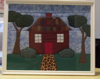 """Handmade quilted picture  17"""" X 14""""  Home sweet home!"""