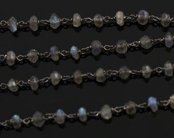 40% DISCOUNT Bulk-10 Feet Labradorite Wirewrapped Gemstone Rosary Chain, 3x2mm Faceted Rondelles 925 Oxidized Sterling Silver, (GMCOX-LAB01)
