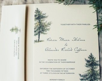 Rustic Pine Wedding Invitation Cabin Evergreen Printable or Ship