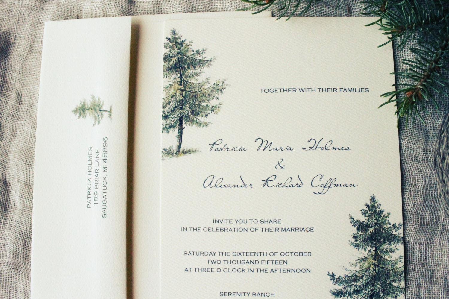Pine tree wedding invitation printable or handmade rustic for Free printable tree wedding invitations