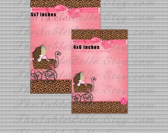 Pink Leopard Stroller Baby Shower/Sip and See Invite and Thank You Digital PNG's